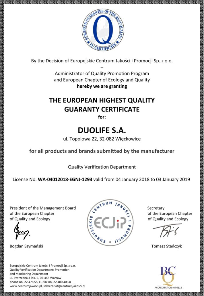 DuoLife certifikát kvality evropska-záruka nejvyssi kvalita