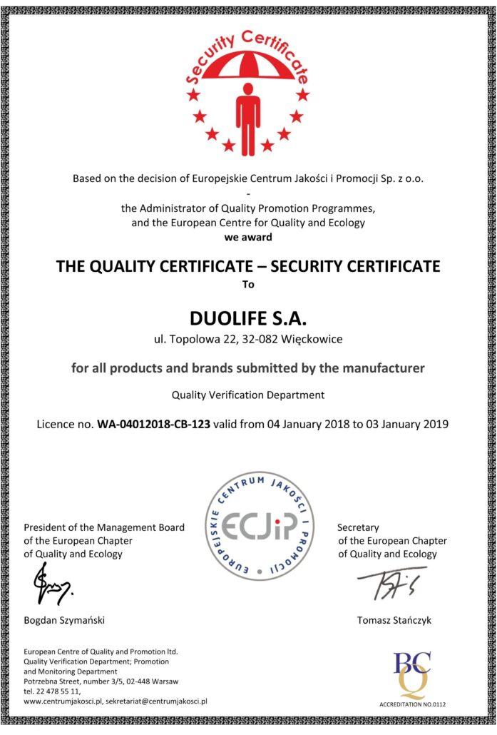 DuoLife certifikát kvality