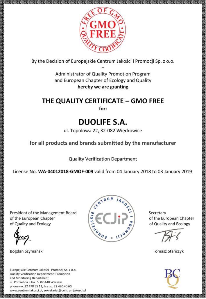 DuoLife certifikát kvality gmo-free