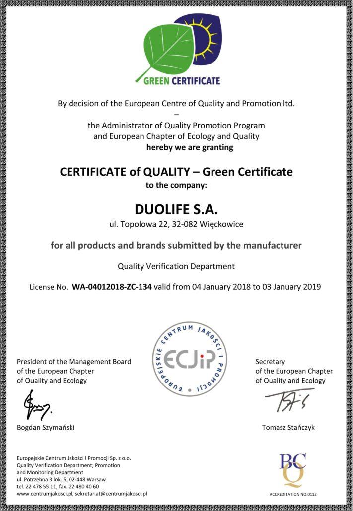 DuoLife certifikat kvality zeleny certifikat