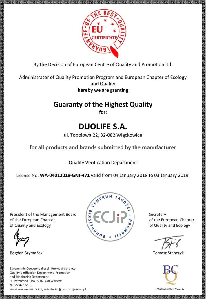 DuoLife certifikát evropská záruka nejvyšší kvality